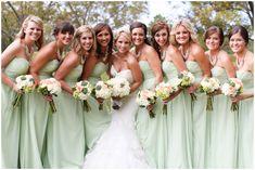 Mint Bridesmaids Dresses, Succulent Bouquets