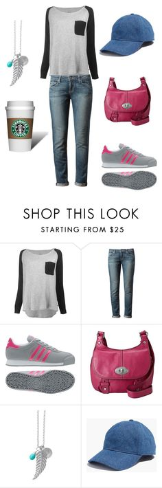 """""""A little chilly"""" by christawallace ❤ liked on Polyvore featuring Leon & Harper, Paige Denim, adidas, FOSSIL, Stella & Dot and Madewell"""