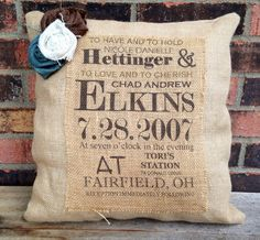 Custom Wedding Gift/Burlap Wedding Pillow by VineandWineBoutique, $38.00