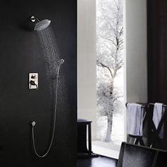 Moderne Vægmonteret Regnbruser Håndbruser inkluderet with Keramik Ventil Enkelt håndtag tre huller for Nikkel Børstet Bruser