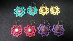 Boho Earrings, Crochet Earrings, Cotton Thread, Crochet Flowers, Boho Style, Boho Fashion, Etsy Shop, Trending Outfits, Unique Jewelry