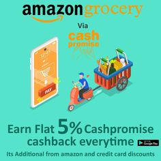 Shop Amazon grocery via cashpromise and earn flat 5% cashback everytime Get Real, Online Shopping Sites, Flat, Amazon, Cards, Bass, Amazons, Riding Habit, Maps