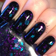 Indie Nail Polish Black Tinted Base Purple Teal Silver Glitters - The Force by Mckfresh Nail Attire on Etsy, $9.17