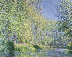 Bend in the Epte River near Giverny by Claude Monet - Bend in the Epte River near Giverny by Claude Monet depicts the rare sight of poplar trees in full flower. Learn about this Monet painting from Pierre Auguste Renoir, Edouard Manet, Monet Paintings, Landscape Paintings, Claude Monet Giverny, Artist Monet, Philadelphia Museum Of Art, Philadelphia Pa, Impressionist Paintings