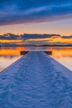 Winter dock sunset