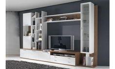 Composición para salón en tonos blanco y madera ideal para cualquier estilo decorativo. La multitud de estantes,  compartimentos y cajones son ideales para colocar todos tus elementos decorativos, además incluye una estantería con estantes de cristal para tu libros, figuras, etc. Un mueble funcional a la vez que estiloso.