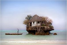 Perched on a rock in the middle of the Indian Ocean, off the coast of Zanzibar, Tanzania, is a tiny seafood restaurant simply named The Rock Restaurant. Oh The Places You'll Go, Places To Travel, Places To Visit, Zanzibar Restaurant, Seafood Restaurant, The Rock, Rock Rock, Zanzibar Beaches, Zanzibar Africa