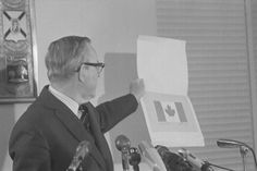 Lester B. Pearson introducing the Maple Leaf as the new official flag of Canada in Feb. 1965