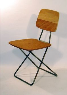 Don Wallace; Plywood and Enameled Metal Prototype Folding Chair, c1950s.