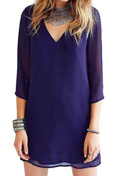 Solid Color Backless Chiffon 3/4 Sleeve Dress PURPLE: Chiffon Dresses | ZAFUL