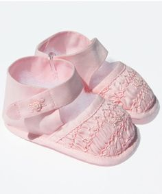 3fef147aa832ed This is a pair of infant beyond beautiful baby girl pink crib shoes made in  cotton. Carousel Wear