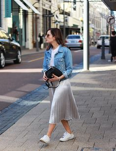 Denim Jacket + Pleated Midi Skirt + Sneakers