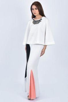 Baju Kurung Kedah in White Orange