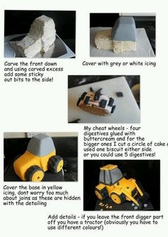 Could be a tractor Fondant Cakes, Cupcake Cakes, 3d Cakes, Little Boy Cakes, Digger Cake, Birthday Cakes For Men, Fondant Tutorial, Dessert Decoration, Cake Decorating Tutorials