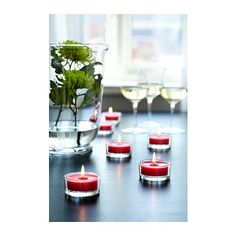 GLIMMA Candle holder IKEA $1.99 for set of 6. these are larger than tea lights. you can get 12 tea light size for same price