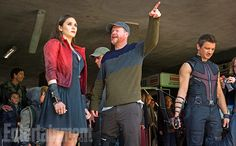 The Avengers: Age of Ultron- Joss giving directions to Elizabeth Olsen as the new Scarlet Witch.