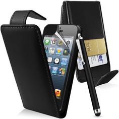 Supergets® Apple Iphone 5 Premium Black Top Flip Leather Case, Screen Protector, Capacitive Touch Screen Stylus | £2.99