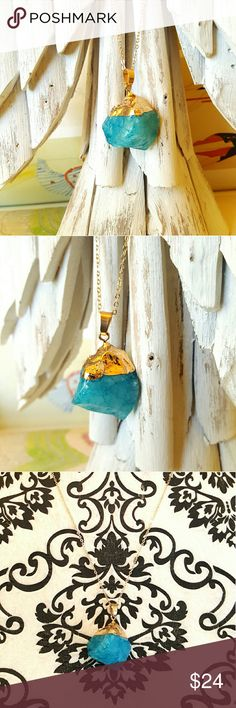 """Turquoise Quartz Pendant Necklace Gold Dipped Turquoise Quartz Pendant Necklace Gold Plate Dipped Measures 18"""" adjustable.  Wear it alone or layered with other necklaces for a unique statement.  Keywords: Festival Weekend Gypsy  Tribal  Boho Bohemian healing  Crystals stones  Statement Layering Chain Links Iris Apfel Boutique Jewelry Necklaces"""