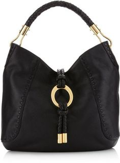 af21fb554300 Michael Kors Collection Skorpios Black Hobo Gold Ring Leather Bag Handbag  Purse Handbags Michael Kors