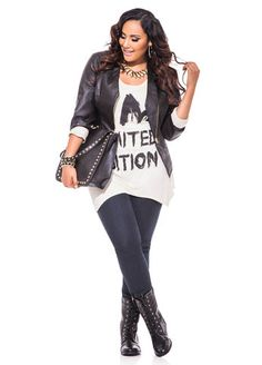 Ashley Stewart Web Exclusive I'm Limited Edition Sharkbite Top, Asymmetrical Pleather Moto Jacket & Pull On Skinny Jeans