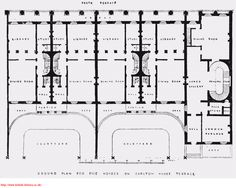 Queen    s Gate      Albert Houses       typical plans a   area  B    Ground Plan For Five Houses on Carlton House Terrace