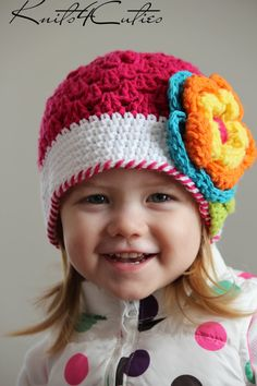 So bright so cute baby hat with flower for girl by knits4cuties, $18.00