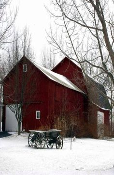 Gorgeous red barn in winter