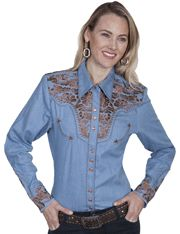 7a2108ac Scully Leather for Women vintage inspired denim Western shirt features  floral embroidery on yokes and cuffs. Snap front and cuffs.