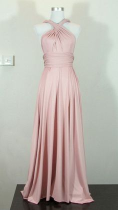 Full length bridesmaid dress Convertible Dress in Pale Nude Creamy Pink Infinity Dress Multiway Dress Royal Pastel Pink Powder on Etsy, $42.82