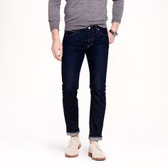 J.Crew - 484 Japanese selvedge jean in resin crinkle wash. Selvedge is the way to go.