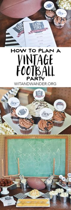 Vintage Football Party - A Vintage Twist on Classic Tailgating at Home full of delicious recipes, free printable party invitations and cupcake toppers, and DIY Vintage Football decorations. You'll love the recipes for Coca-Cola Meatballs and a Bacon Cheeseball that pairs perfectly with RITZ® crackers and Wheat Thins! #GameDayGreats [ad]