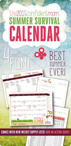 2015 Summer Survival Calendar - Are you ready for summer? Ready or not, it's almost here! Now you can take charge of your summer with my 2015 Summer Survival Calendar!