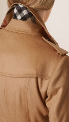 Burbrerry Camel Sandringham Fit Cashmere Trench Coat - The unlined design is slim with a tapered waist and can be worn belted for a close fit or open and relaxed. Heritage details include a storm shield and check undercollar. Discover the women's outerwear collection at Burberry.com