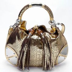Gucci Indy Gold Snake Leather Bag