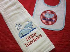 Cute baby boy whale bib and burp cloth