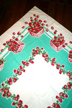 Vintage Strawberries in a Basket Cotton Tablecloth by VintageReinvented