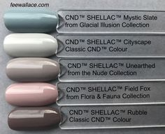 Shellac Unearthed with other colors comparison by Fee Wallace, CND NUDE collection