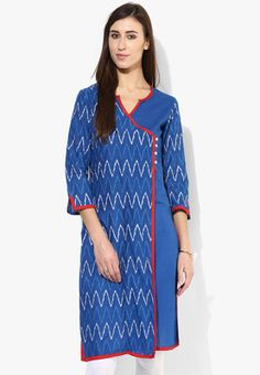 Angrakha Style Half N Half Straight Length Kurta With 3/4Th Sleeves Look graceful and iconic wearing this blue kurta by Sangria. Featuring a striking pattern on the yoke and a split neckline with contrast coloured taping, this Angrakha-style kurta will surely put you in the limelight. Team this cotton kurta with churidar and wedges to stand out from the crowd. http://jbo.ng/C45eyiW