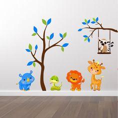 Tryckt Wallstickers med ett träd med djur