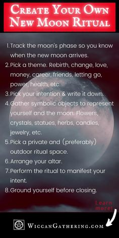 Create your very own New Moon ritual for this coming new moon! Perfect guide whether you are a beginner witch or experienced witch. #New Moon Ritual #Magickal New Moon #New Moon Spells #Lunar Magic #Moon Magic Witch Spell Book, Witchcraft Spell Books, Spells For Beginners, Witchcraft For Beginners, Lunar Magic, Moon Magic, New Moon Rituals, Full Moon Ritual, Moon Spells