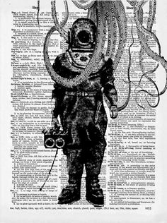 Steampunk Diving Suit On Old Dictionary Page