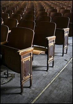 Old wooden school auditorium seats