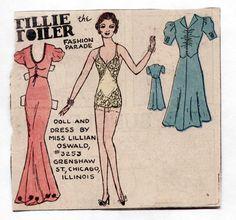 Vintage Tillie The Toiler Paper Dolls 1930s Flapper Yellow Lingerie w Garters | eBay