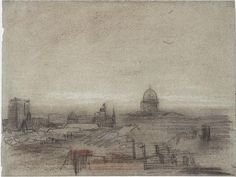 Vincent van Gogh Drawing, Red, black and white chalk Paris: March - May, 1886 Van Gogh Museum Amsterdam, The Netherlands, Europe F: 1387, JH: 1098 Image Only - Van Gogh: View of Paris with Notre-Dame and the Panthéon