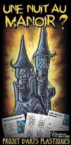 Halloween - A night at the Manor? - Art lesson plan Art Lesson Plan - Halloween - Castel Here's Halloween Art Projects, Theme Halloween, Halloween Kids, Art Plastique Halloween, Middle School Art Projects, October Art, 8th Grade Art, Ecole Art, Art Lesson Plans