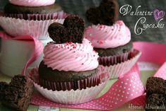 Chocolate cupcakes with pink frosting for Valentine's Day