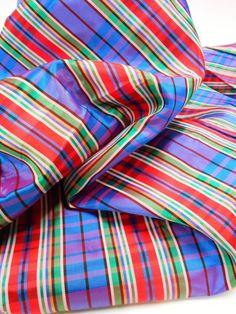 Holiday Taffeta, Plaid Taffeta Fabric, 1 yard Remnant, Sewing Material, Craft Supplies  $8.00