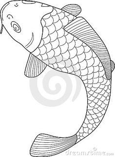 A Japanese Koi Fish Vector Line Art Illustration