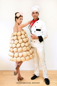 croquembouche french macaron costume with french chef. Halloween.