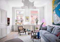 〚 PUFIK. Beautiful Interiors. Online Magazine 〛 ◾ Photos ◾ Ideas ◾ Design Scandinavian Apartment, Scandinavian Design, Pastel Decor, Concrete Furniture, A Frame House, Lounge Areas, Best Interior, Beautiful Interiors, Basic Colors